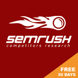 SEMRUSH – CLICK FOR FREE MONTH OF GURU PLAN! To do keyword research, link analysis, competitor research (all SEO related).